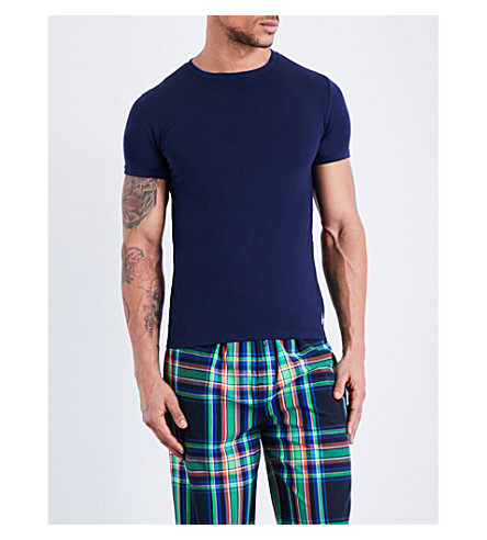 POLO RALPH LAUREN Logo-detail stretch-cotton t-shirt (Navy