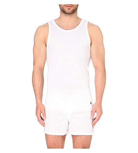 RALPH LAUREN Cotton-blend tank top (White/black