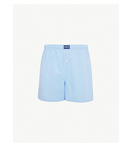 POLO RALPH LAUREN Gingham relaxed-fit cotton boxers (Light+blue