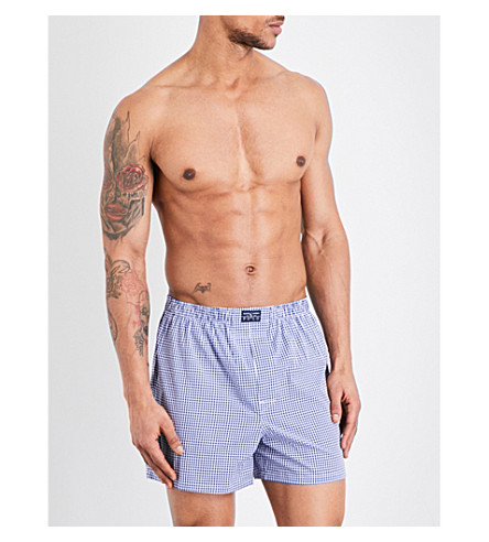 POLO RALPH LAUREN Pack of three woven cotton boxer shorts (Blues