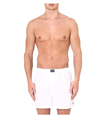 RALPH LAUREN Oxford cotton boxers (White