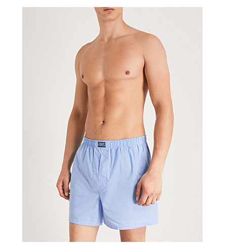 POLO RALPH LAUREN Pack of three relaxed-fit woven cotton boxers (Blue