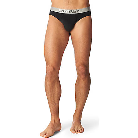CALVIN KLEIN Chrome low–rise briefs (Black