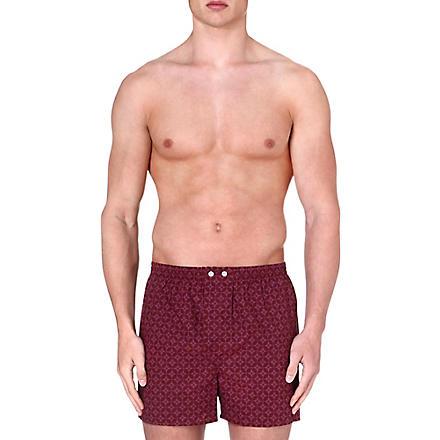 DEREK ROSE Star cotton boxer shorts (Wine
