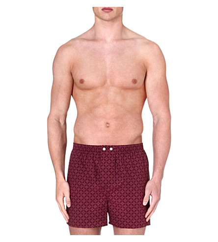 DEREK ROSE Star cotton boxer shorts (Wine