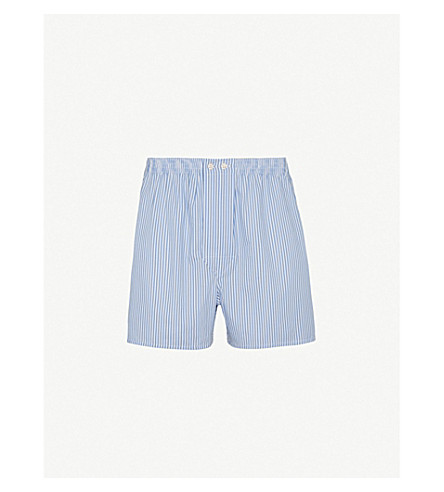 DEREK ROSE Striped slim-fit cotton boxer shorts (White/blue