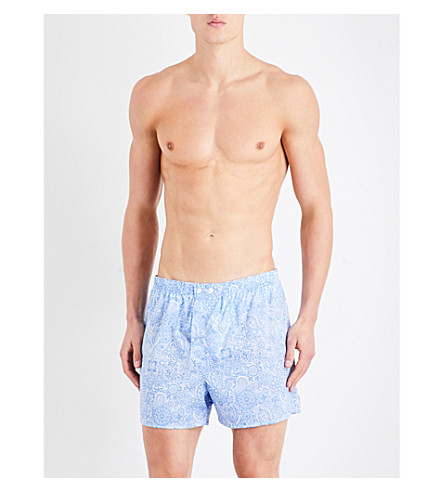 DEREK ROSE Ledbury modern-fit cotton boxer shorts (Lt+blue