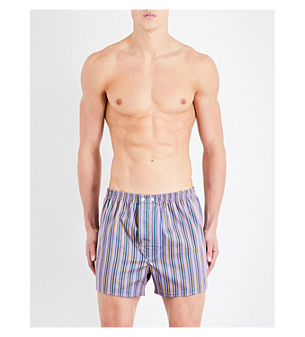 DEREK ROSE 条纹经典适合棉拳击手短裤 (Pnk + orng + 多