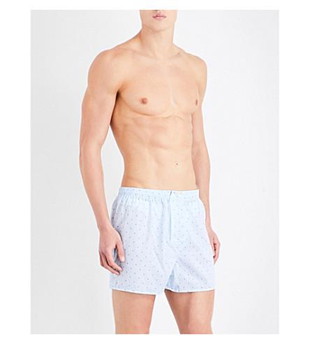 DEREK ROSE Nelson Sail regular-fit cotton boxer shorts (Lt+blue