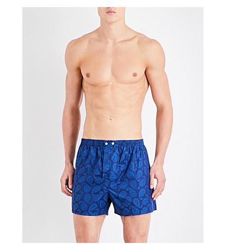 DEREK ROSE Paisley classic-fit cotton boxer shorts (Blue