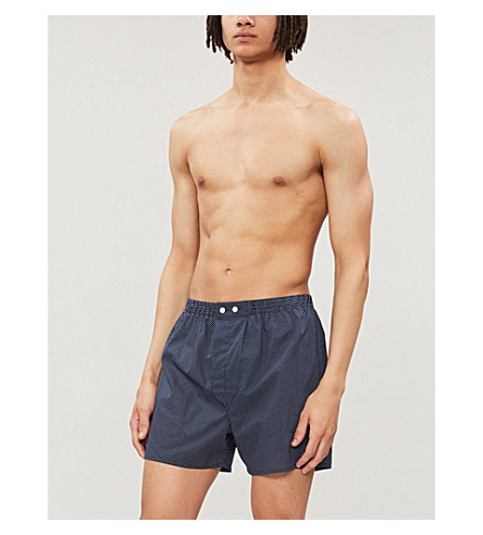 DEREK ROSE Plaza relaxed-fit cotton boxer shorts (Navy+white