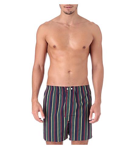 DEREK ROSE Regimental-stripe boxer shorts (Green+navy