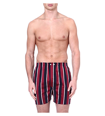 DEREK ROSE Regimental-stripe boxer shorts (Navy+burgundy