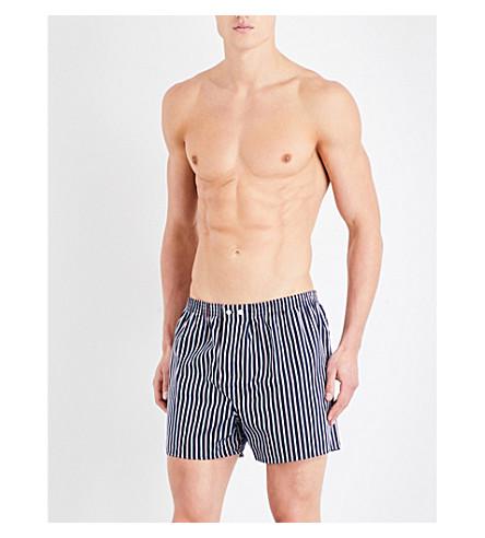 DEREK ROSE Royal striped regular-fit cotton boxer shorts (Blu+red