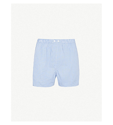 DEREK ROSE Gingham-checked relaxed-fit cotton boxer shorts (Blue+white