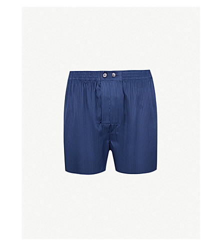 DEREK ROSE Woburn classic-fit silk boxers (Navy