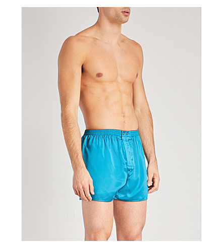 DEREK ROSE Relaxed-fit silk-satin boxer shorts (Teal