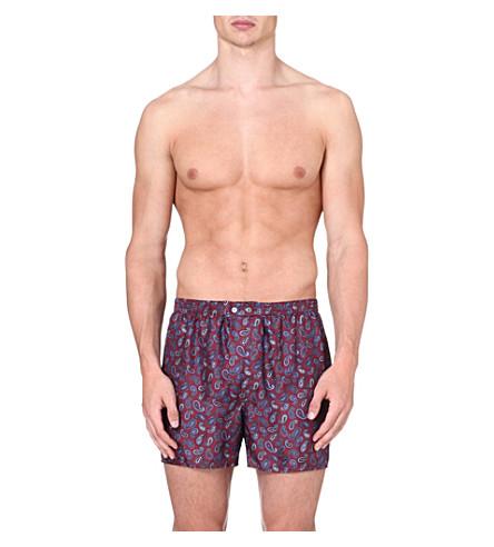 DEREK ROSE Otis paisley-print silk boxer shorts (Wine