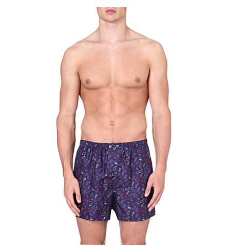 DEREK ROSE Paisley-print silk boxer shorts (Navy