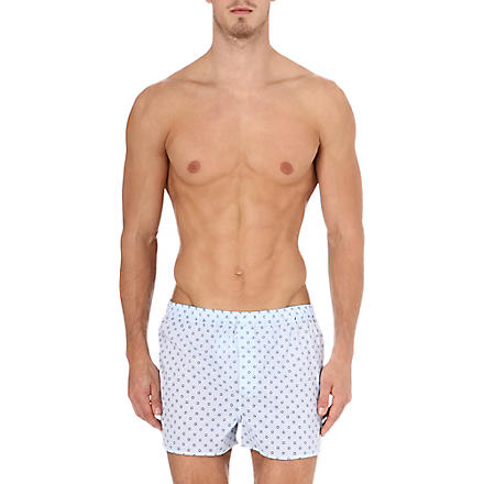 DEREK ROSE Patterned split-hem boxer shorts (Blue