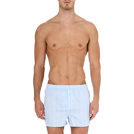 DEREK ROSE Stripe split-hem boxer shorts (Blue