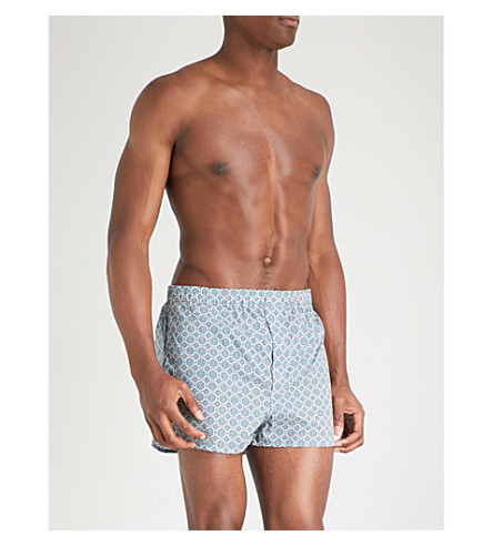 DEREK ROSE Ledbury modern-fit cotton boxers (Blu+orng
