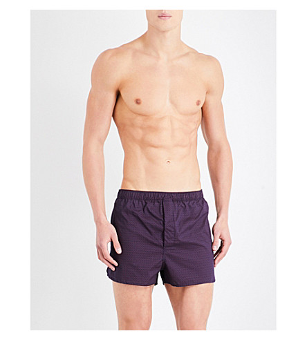 DEREK ROSE Nelson 60 regular-fit cotton boxer shorts (Navy+red