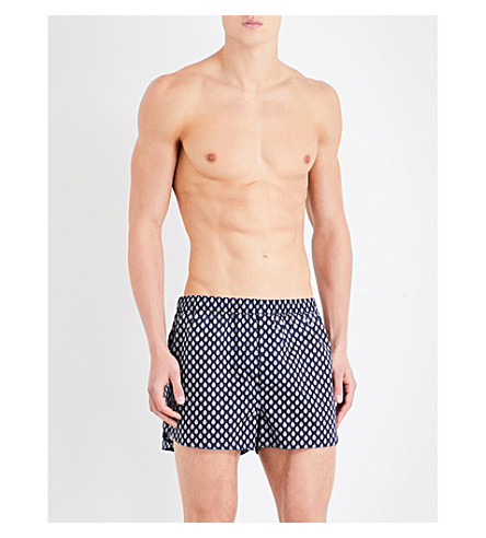DEREK ROSE Nelson 61 Paisley modern-fit cotton boxers (Navy