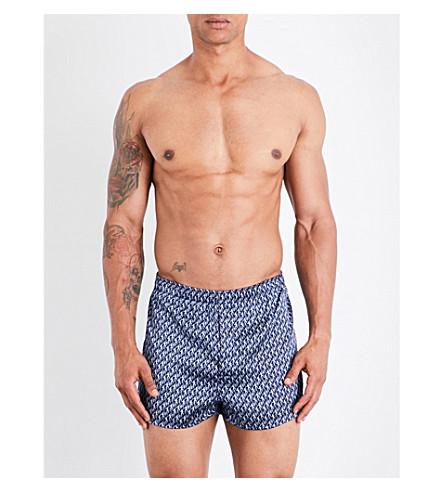 DEREK ROSE Brindisi monkey-print silk-satin boxers (Navy