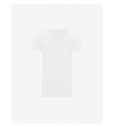 DEREK ROSE Jack v-neck cotton t-shirt (White