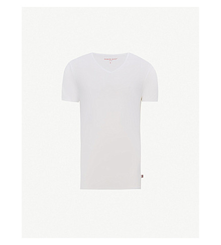 DEREK ROSE V-neck modal t-shirt (White