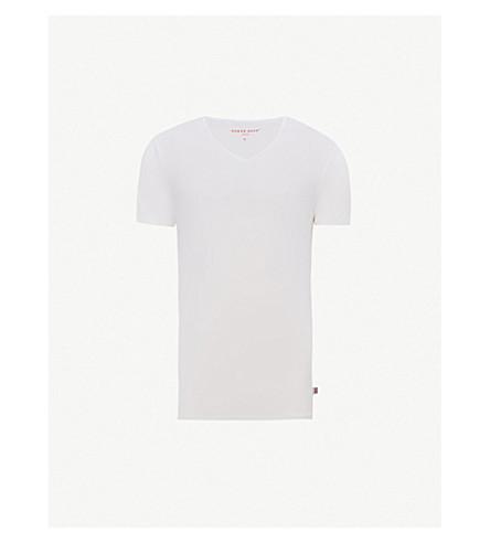 DEREK ROSE V领莫代尔 T 恤 (白色