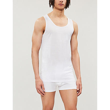 DEREK ROSE Lewis mercerised-cotton vest (White