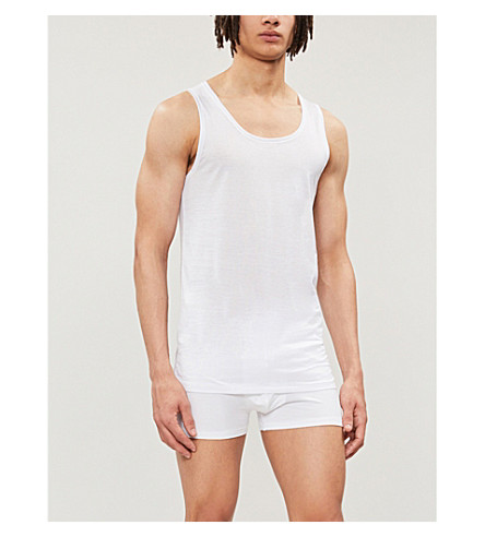 DEREK ROSE Lewis mercerised-cotton vest (White