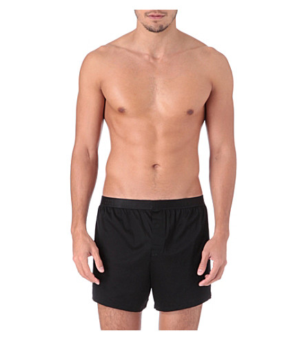DEREK ROSE Lewis mercerised-cotton boxer shorts (Black