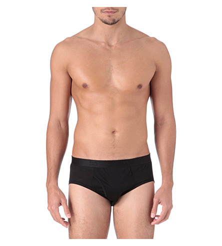 DEREK ROSE Lewis mercerised-cotton briefs (Black