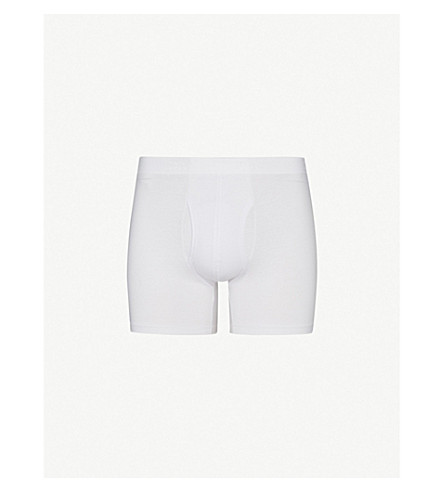 DEREK ROSE Jack slim-fit pima-cotton trunks (White