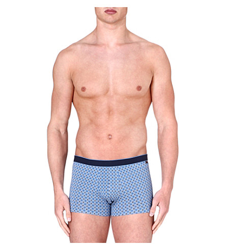 DEREK ROSE Multi Star stretch-cotton hipster trunks (Light blue/navy