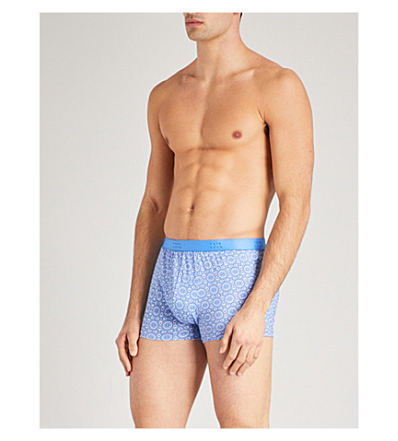 DEREK ROSE Intricate Star stretch-cotton trunks (Lt+blue