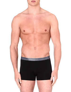 DEREK ROSE Contrast waistband stretch-cotton hipster trunks