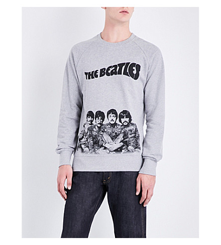 THE BEATLES Cartoon-print cotton-jersey sweatshirt (Grey