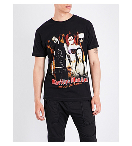 TRIBUTE COLLECTION Marilyn Manson-print cotton-jersey T-shirt (Black