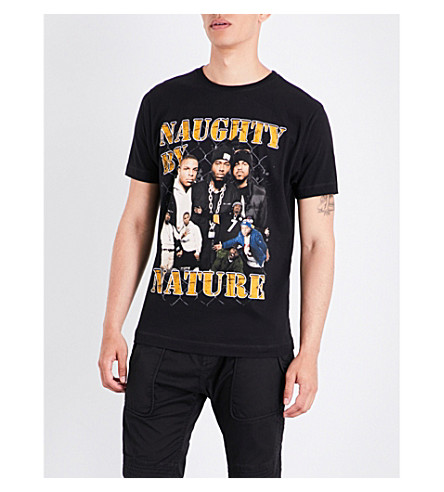 TRIBUTE COLLECTION Naughty by Nature-print cotton-jersey T-shirt (Black