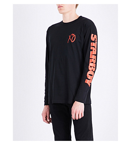 THE WEEKND Starboy graphic-print cotton-jersey top (Black