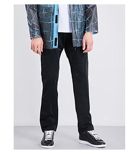 STONE ISLAND Straight-leg mid-rise denim jeans (Black