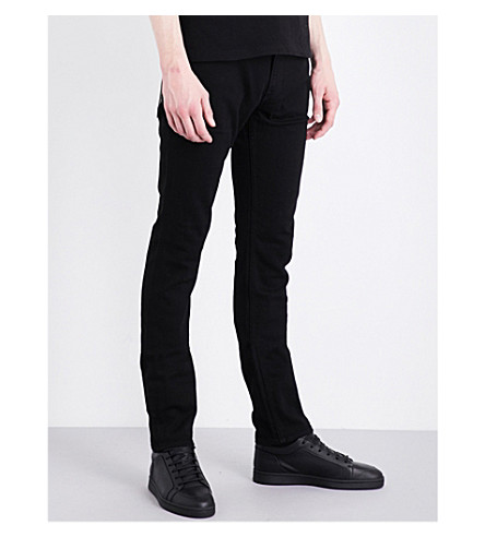 STONE ISLAND Tapered slim-fit skinny jeans (Black+wash