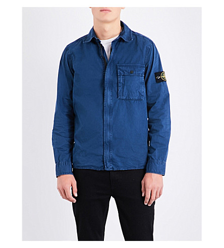 STONE ISLAND Garment-dyed cotton overshirt (Avio
