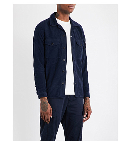 STONE ISLAND Regular-fit cotton-moleskin shirt (Blue+marine