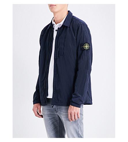 STONE ISLAND Garment-dyed shell jacket (Blue+marine