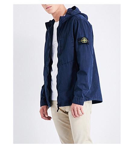 STONE ISLAND Garment-dyed cotton jacket (Blue+marine